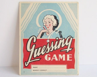 1920s - 30s, Old Game Cards, Art Deco Graphics, Blue and Red, Guessing Game Cards,