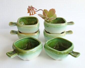 Green Ceramic Ramekins, Mid Century, Green and Cream, Ceramic Bowls, Set of 6, Molten Glaze, Individual Ovenware, Small Casserole Dishes,