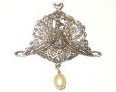 Vintage Artisan Peacock Faux Pearl Pendant Brooch