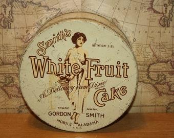 Vintage Smiths White Fruit Cake Tin - item #1360