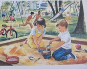 "Original Vintage School Classroom Poster Print - Circa 1964 - City Park - 9"" x 12"""