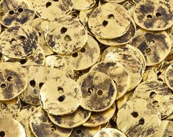 Button-16mm Cornflake-Casting-Antique Gold-Quantity 1