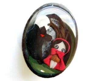 SALE - Little Red Riding Hood- Miniature Sculpture - Charm Pendant