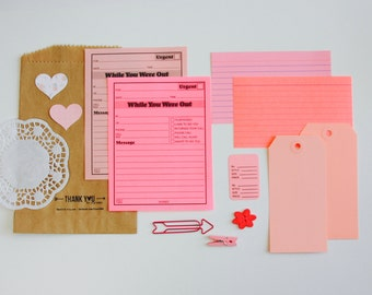 Pink Planner Supplies Kit . Ephemera Junk Journal Tag + Embellishment Collection . Collage Scrapbooking Mixed Media Mini Album MTN . Listers