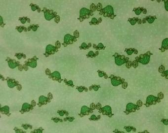 Green turtles cotton flannel fabric, half yard