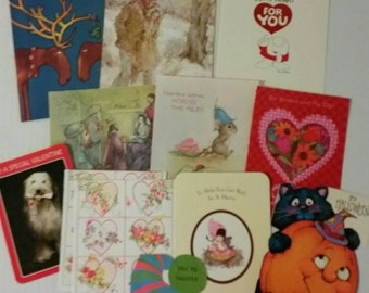 13 Vintage card fronts for upcycling, including a Ziggy valentine card front