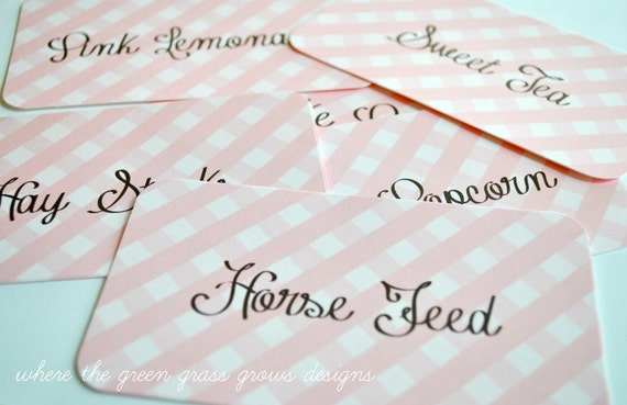 Pink and White Gingham Farm Pony Horse Food Signs