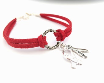 Red Charity Awareness Bracelet, Aids, Vascular, DVT