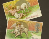 RESERVED LISTING (NJ) Pair Elegant Embossed Vintage Easter Postcards Angel With Lamb Bright Sunshine and Spring Flowers 1907