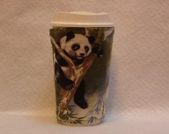 ARTI REVERSIBLE Coffee Cup Sleeve,  PANDA in tree  with pocket