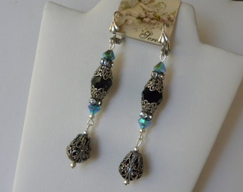 Turquoise and Black Earrings, Long Silver Filigree Turquoise Earrings, Long Edwardian Style Earrings, Silver Turquoise Blue Rhinestone