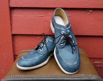 80s Pthalo Blue Vinyl Bowling Shoes Oxford Style Lace Ups Ladies 7.5