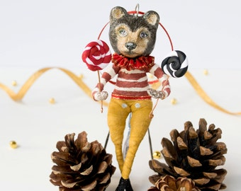 Handmade Hansel brown bear spun cotton fairy tale hanging ornament with stripes and lolly pops. Hansel and Gretel. Birthday. Valentines gift
