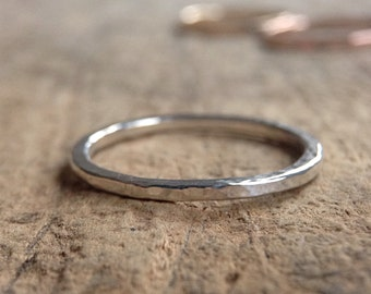 Sterling Silver Hammered Ring, Ring Band, Textured Ring, Stackable Ring, Silver Band, Made To Order, Bohemian Ring, Bohemian Jewelry