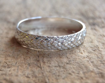 Sterling Silver Mermaid Ring, Mermaid Jewelry, Mermaid Tail, Mermaid Scales, Mermaid Pattern, Sterling Silver Ring, Bohemian Ring