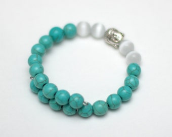 Turquoise Buddha Wrap Bracelet - Turquoise and Cats Eye Beads - Memory Wire Bangle - Gift for her - Yoga Jewelry