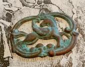Whimsical Stamped Brass Pegasus w Homemade Verdigris - Pegasus Pendant - Assemblage Supply