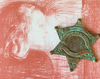 Vintage Brass Badge w Homemade Verdigris Painted Patina