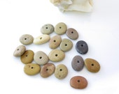 Small Center Drilled Beach Stones, Round Donut Pebbles- Tiny Rocks, Small Pebbles, Jewelry Supplies- Organic Vegan Beads