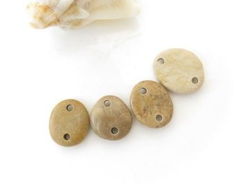 Double Drilled Beach Stone Medium Connectors, Jewelry Supplies, Organic Beads, Rare Colors