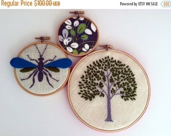 Christmas in July Sale Tree Wasp Leaves hand embroidered hoop art home decor wall decoration housewarming wedding gift by mlmxoxo