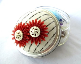 Mason Jar Pin Cushion Sewing Kit with Kanzashi Flowers Black White Cinnamon with Vintage Buttons