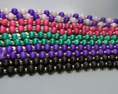 Satin Covered Beaded Necklace Lot of Five Black Purple Green Rose Pink White Satin Bead Strands or Necklaces