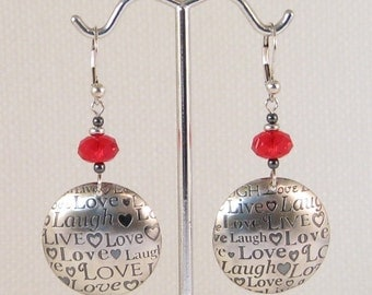Live Laugh Love Heart Earrings:  girlfriend gift, mother's birthday, Mother's Day gift, love at first sight, Valentine gift, sweetheart gift