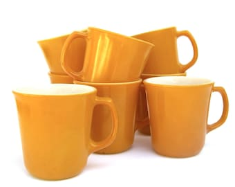 8 Vintage Corning Mugs, Coffee Cups Golden Yellow Marigold Citrus, Retro Kitchen Camping, Sunny Cheery Decor, Diner Restaurant Ware
