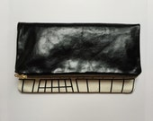 Leather clutch bag with monochrome print fabric, small