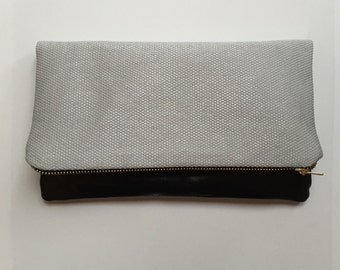 Leather and textured fabric clutch bag, 6 ways to style, small