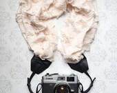 Ruffled Scarf Camera Strap, DSLR Camera Strap, Extra Long, Nikon, Canon, DSLR Photography, Wedding Photographer Gift - Ruffled Blush & Gold
