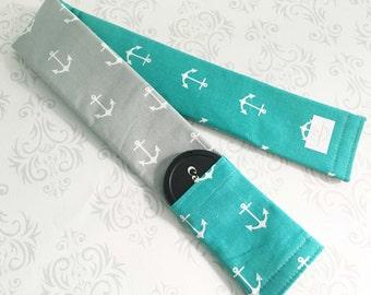 Reversible Camera Strap Cover with Lens Cap Pocket - Photographer Gift, DSLR Strap Cover, Nautical Wedding - Gray and Aqua Anchors