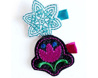 Frozen Princesses hair clip set  Felt embroidery hair clip / baby girl hair clip / girl hair clip / barrette...