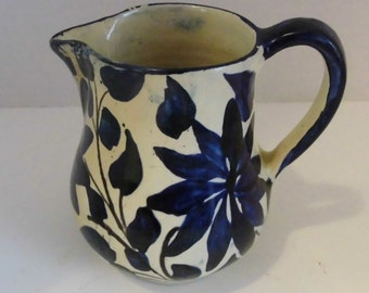 Mexican Oaxaca Vintage Pottery Signed Tourist pottery Blue and White Pitcher Collectible Mexican Pottery