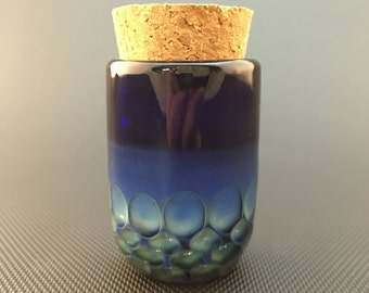 Honeycomb Glass Jar // Hand Blown Cobalt // Airtight Jar