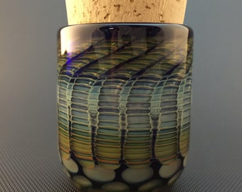 Honeycomb Glass Jar // Hand Blown Wrap & Rake // Cobalt Airtight Cork Jar