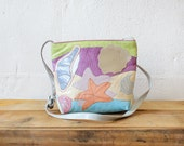 Pastel Bag • Sharif Handbag • Leather Crossbody Bag • Beach Purse • Starfish Print Novelty Bag • 80s Bag • Sea Shells Leather Applique |B608