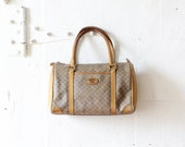 80s Gucci Speedy Handbag {as is} • Canvas and Leather Designer Bag • Tan Leather Gucci Bag • Top Handle Purse | B467