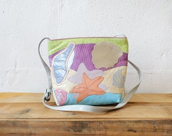 Pastel Bag • Sharif Handbag • Leather Crossbody Bag • Beach Purse • Starfish Print Novelty Bag • 80s Bag • Sea Shells Leather Applique |B608