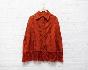 Pumpkin Fringe Poncho • Orange Fringe Cape with 1970s Collar • Rust Fringe Knit Cape  | O182