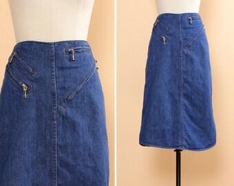 70s Zip Up Denim Skirt S • Denim Pencil Skirt • 70s Denim Skirt • Fitted Skirt with Pockets • Asymmetrical Zipper Punk Skirt    SK536