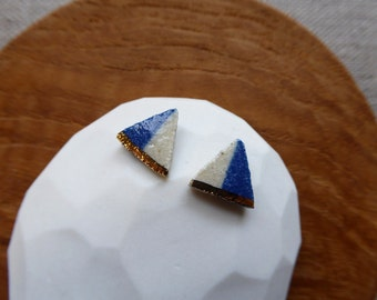 Sail Boal 2 Tone Stud Earrings