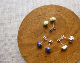 Glazed Little Dome Stud Earrings with Gold Craws