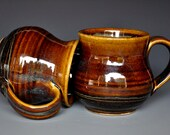 Pottery Mug Stoneware Ceramic Coffee Cup Handmade Mug Gold Umber