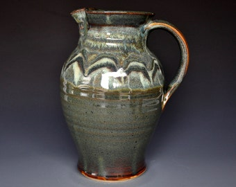 Green Mountain Pottery Pitcher Ceramic Pitcher Stoneware Pitcher Handmade Pitcher Vermont Jug B