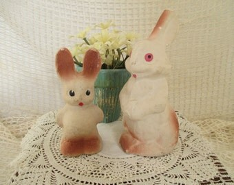 Vintage Paper Mache Easter Bunny/Bunnies - Rose/Brown & Cream - Easter Basket Decor - Shabby Cottage Decor - Two in Lot