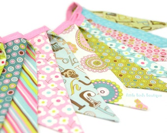 READY TO SHIP!  Reusable Fabric Bunting, Banner, Pennant, Flag, Garland, Photo Prop, Decoration, Girls, Floral, Pink, Green, Turquoise