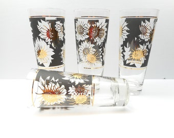 Vintage High Ball Glasses , Atomic Black and Gold Drinking Glasses