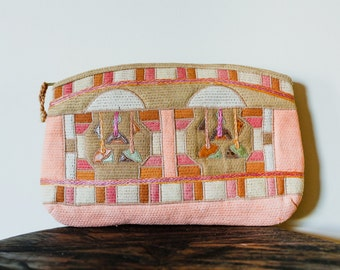 80s Funky Pastel Patchwork Burlap Material Clutch with Snakeskin Accents